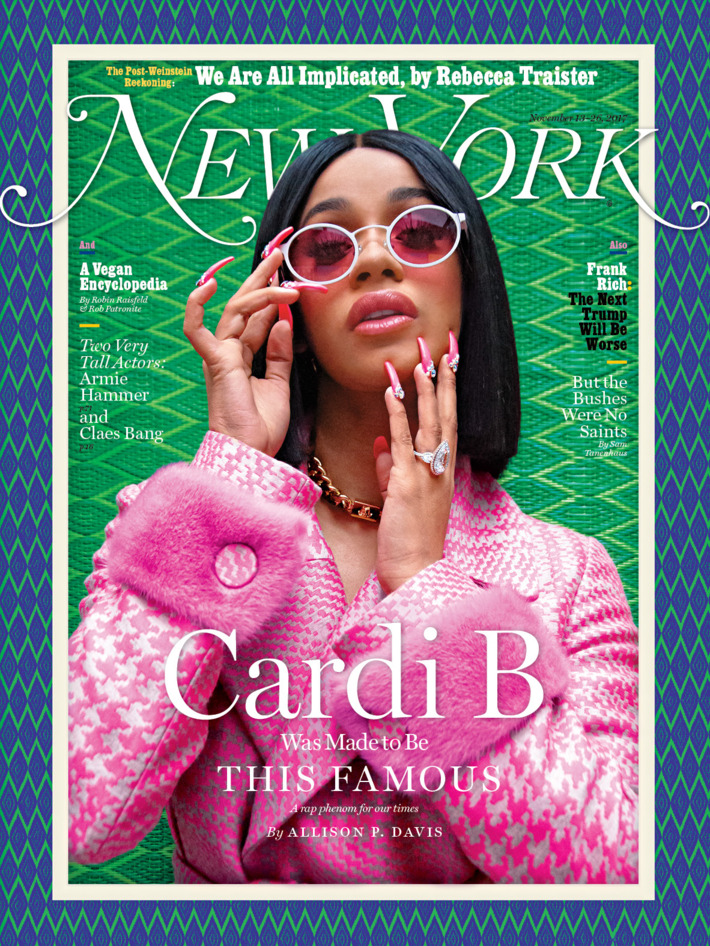 """Photo of CARDI B COVERS LATEST ISSUE OF NEW YORK MAGAZINE, DISCUSSES FEMINISM & CARRYING """"A LITTLE 'SCHOMTHING'"""" FOR SAFETY."""