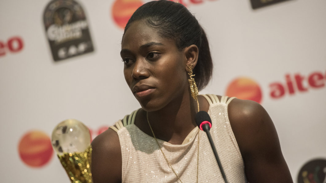 Photo of SUPER FALCON ASISAT OSHOALA WINS THIRD FEMALE AFRICAN PLAYER OF THE YEAR AWARD.