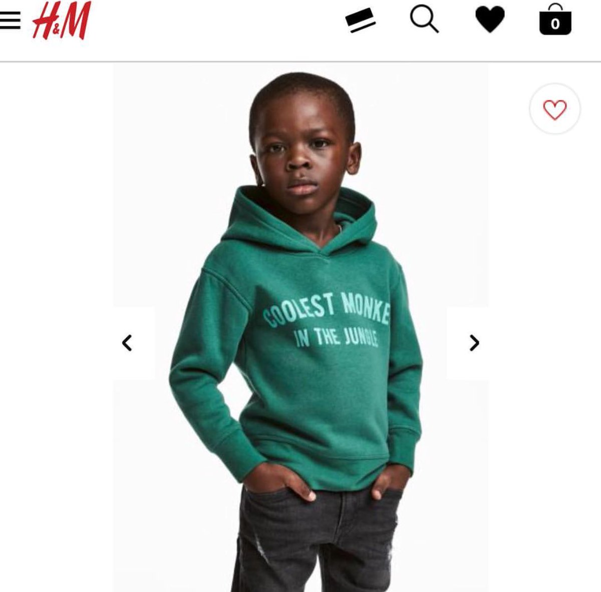 Photo of H&M UNDER FIRE FOR USING BLACK KID MODEL TO PROMOTE HOODIE WITH RACIAL SLUR.