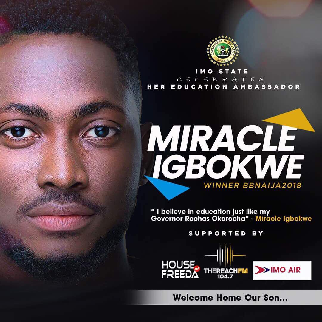 Photo of #BBNAIJA 2018 WINNER MIRACLE REPORTEDLY NAMED EDUCATION AMBASSADOR FOR IMO STATE