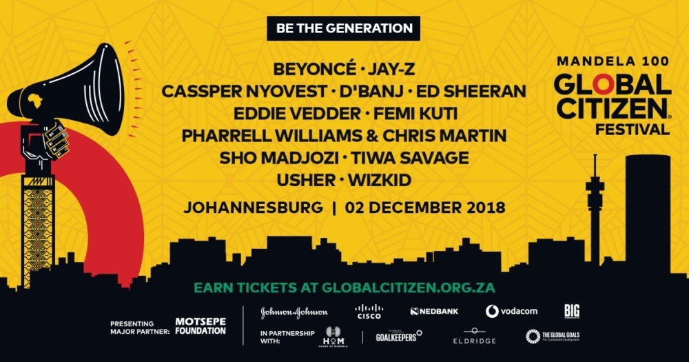 Photo of BEYONCE, JAY-Z, WIZKID, D'BANJ, TIWA SAVAGE ARE HEADING TO JO'BURG FOR STAR-STUDDED 2018 GLOBAL CITIZEN FESTIVAL CELEBRATING NELSON MANDELA'S 100TH BIRTHDAY