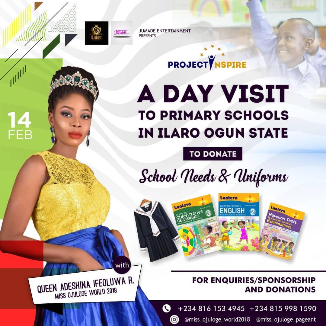 Photo of MISS OJULOGE NIGERIA; QUEEN ADESHINA IFEOLUWA GOES ON SCHOOL TOURS WITH GIFTS