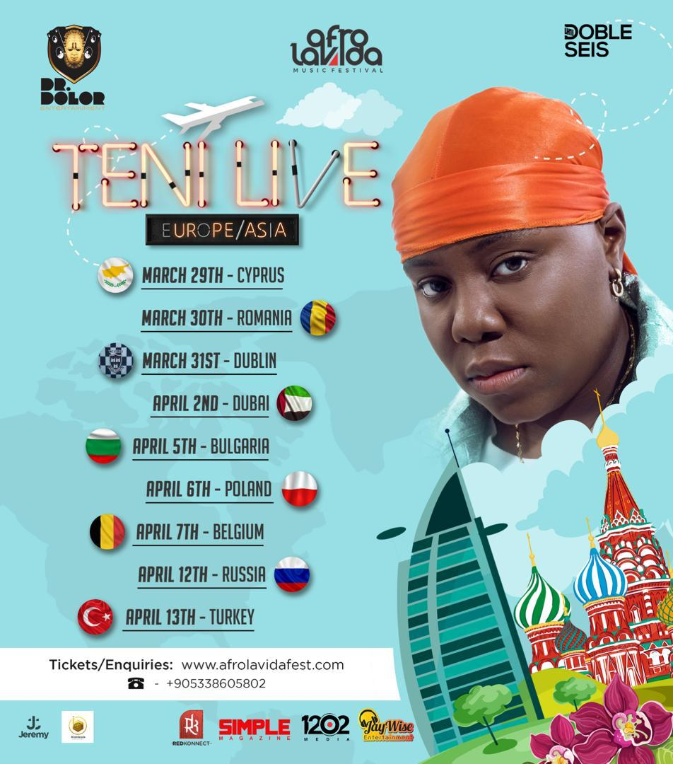 Photo of TENI ANNOUNCE DATES FOR HER EUROPE TOUR WITH AFROLAVIDA